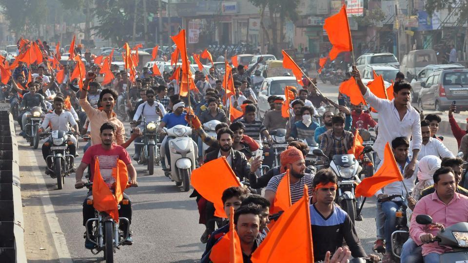 People protest against Sanjay Leela Bansali's upcoming film Padmavati in Gurgaon.(PTI Photo)