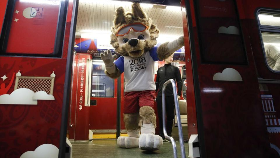 Zabivaka is pictured here taking part in a ceremony unveiling a metro train. (REUTERS)