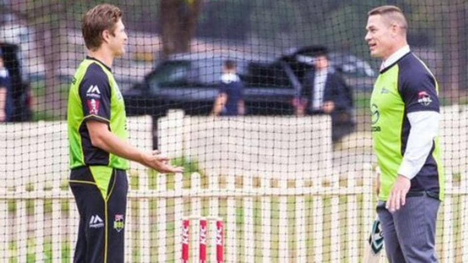 Shane Watson tweeted this picture of him giving WWE superstar John Cena (R) some cricket coaching.