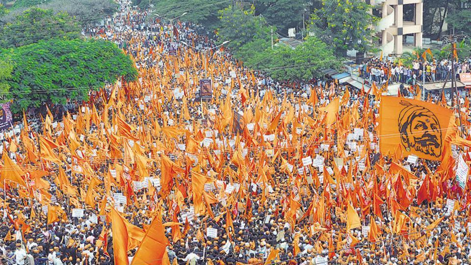 Maratha community members hold a protest rally, demanding justice in Kopardi rape and murder case in Sangli last September.