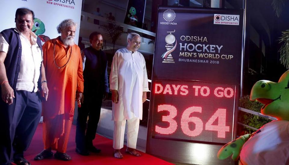 Orissa chief minister Naveen Patnaik during the unveiling of the Hockey World Cup