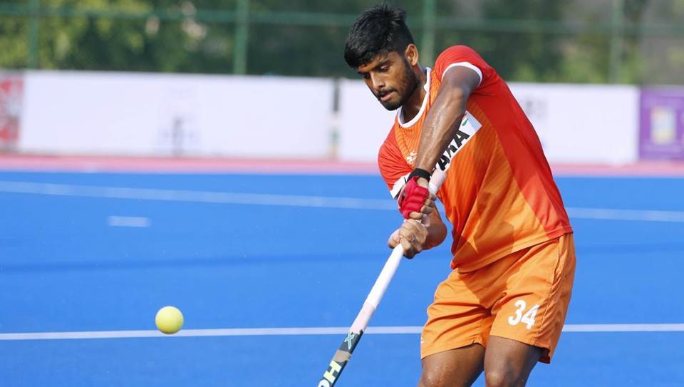 Indian hockey team member Varun Kumar during a practice session ahead of Hockey World Leage Final.