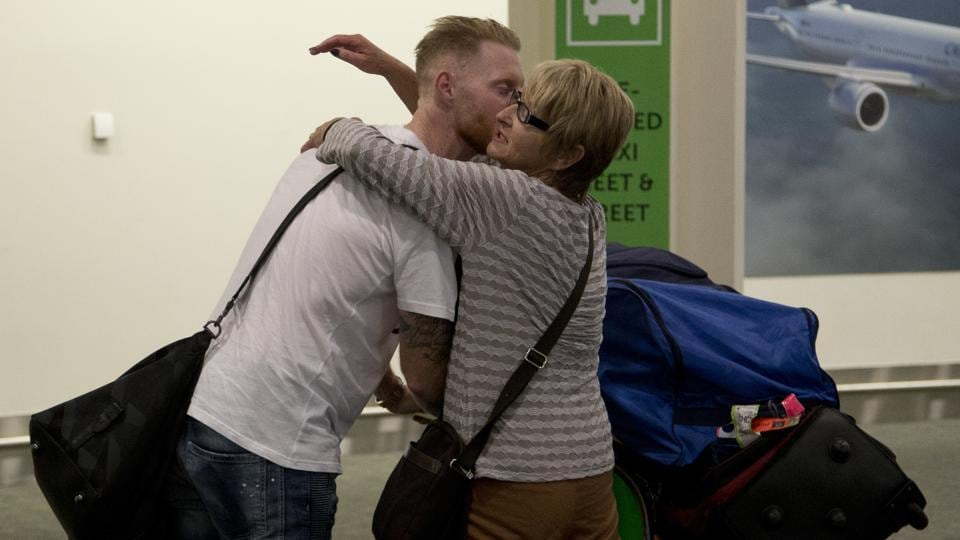 Stokes is embraced by his mother Barbara on his arrival in Christchurch. (AP)