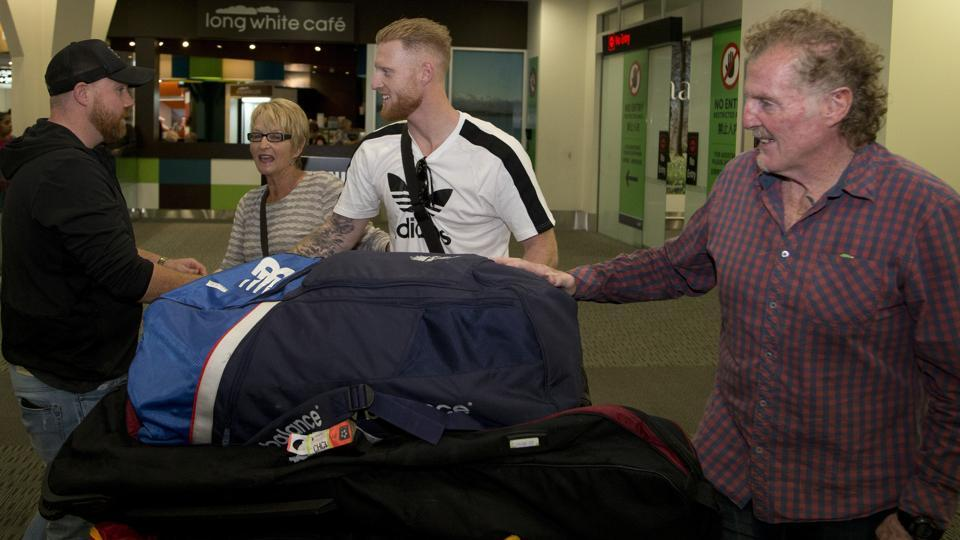 Stokes, center, is welcomed by members of his family on his arrival. British media reported that Stokes is traveling to Christchurch, New Zealand to visit his parents. (AP)