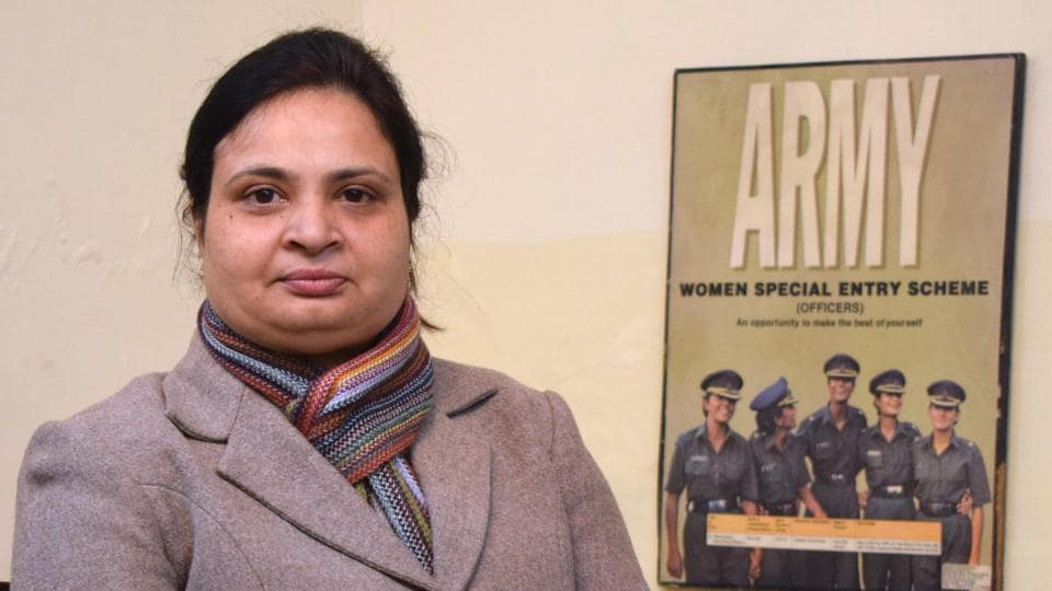 Capt Shikha Saxena at her residence in Chandigarh on Tuesday. Amomg the pioneering women army officers, she recounted her challenges  and pleasures of donning the olive green.