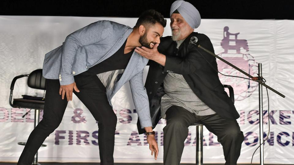 Virat Kohli takes Bishan Singh Bedi's blessings during Delhi and District Cricket Association's (DDCA) first Annual Conclave.