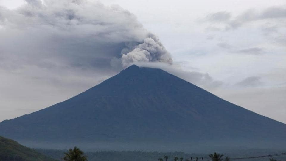 Mount Agung volcano erupts as seen from Amed, Karangasem Regency, Bali, Indonesia.