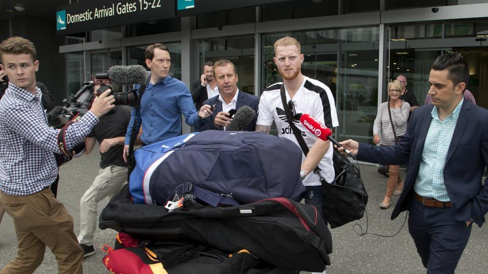 Ben Stokes is surrounded by media as he arrives in Christchurch, New Zealand, on Wednesday, Nov. 29, 2017. (AP)