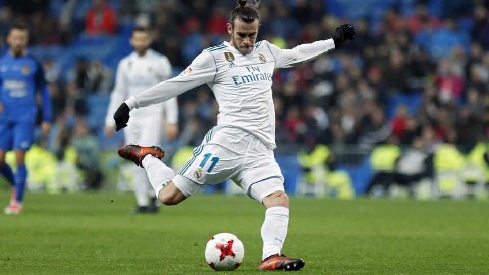 Real Madrid C.F.'s Gareth Bale in action during the Spanish Copa del Rey round-of-32 second leg football match between against Fuenlabrada at the Santiago Bernabeu stadium in Madrid on Tuesday.