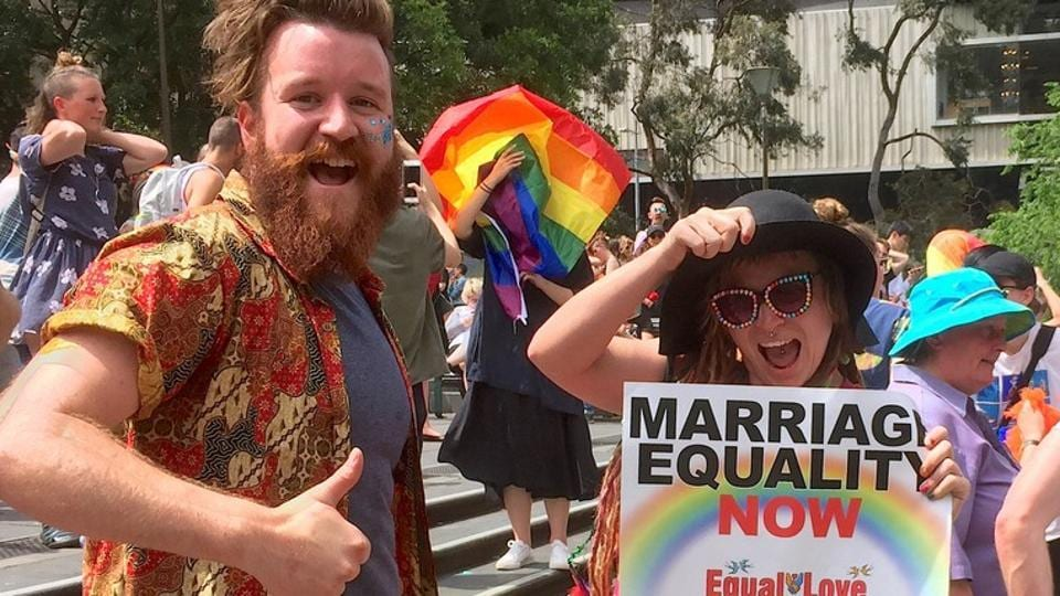 Supporters of the 'Yes' vote react as they celebrate after it was announced the majority of Australians support same-sex marriage in a national survey, in central Melbourne last week.