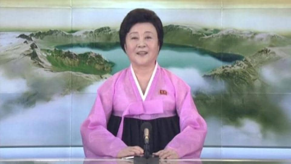 "A still from a video released by KRT shows that the North Korean state television brought out Ri Chun-Hee, a star presenter who only appears for significant developments, to announce the landmark launch. ""The great success in the test-fire of ICBM Hwasong-15 is a priceless victory won by the great and heroic people of the DPRK,"" she said, using the official abbreviated name for North Korea. (KRT / REUTERS)"