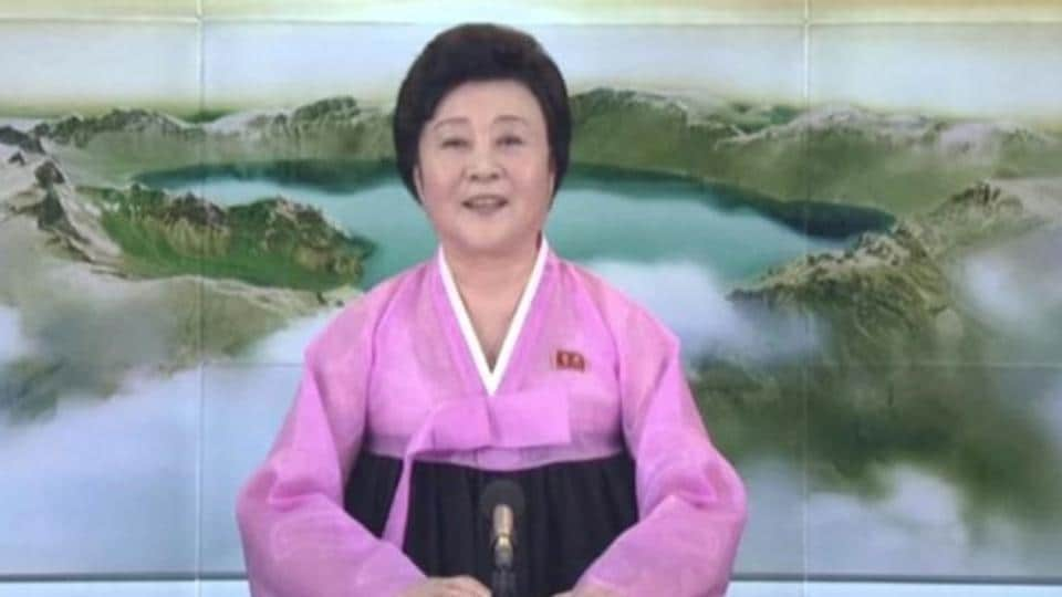 Ri Chun-Hee makes a special announcement on North Korea's state-run television after the country launched a missile, in this still image taken from a video released by KRT.