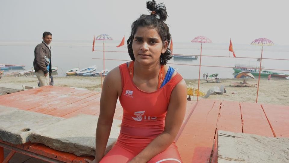 Wrestler Freedom Yadav poses on the opening day of a wrestling championship at the popular Assi ghat in Varanasi on November 28, 2017. For first time, women competitors were allowed in the annual contest organised by the Akhada Goswami Tulsidas in the memory of Amarnath Mishra, the late chief priest of Sankatmochan temple. (Rajesh Kumar / HTPhoto)