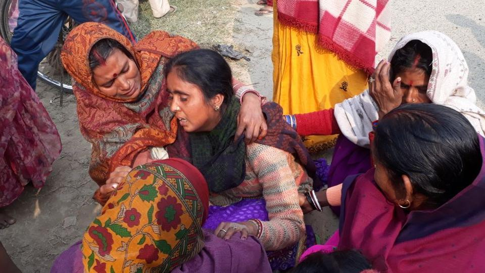 Wailing family members of one of the celebratory firing victims at Matihani village in Bihar's Purnia district.