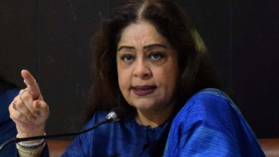 Member Parliament from Chandigarh Kirron Kher interacting with mediapersons at Chandigarh Press Club.