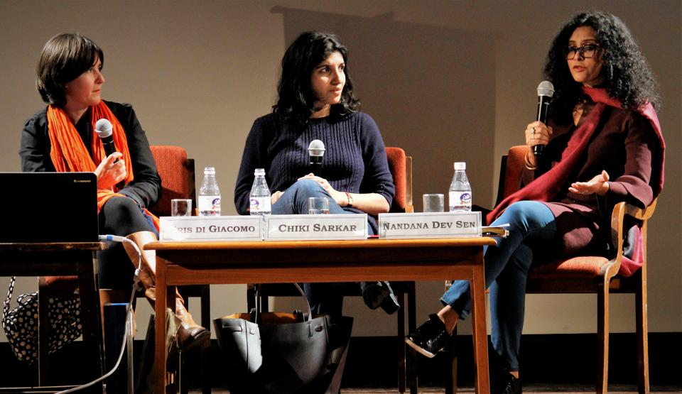 (L-R) French illustrator Kris Di Giacomo, publisher Chiki Sarkar and actor-author Nandana Dev Sen in a discussion on the work-in-progress book Earth Song.