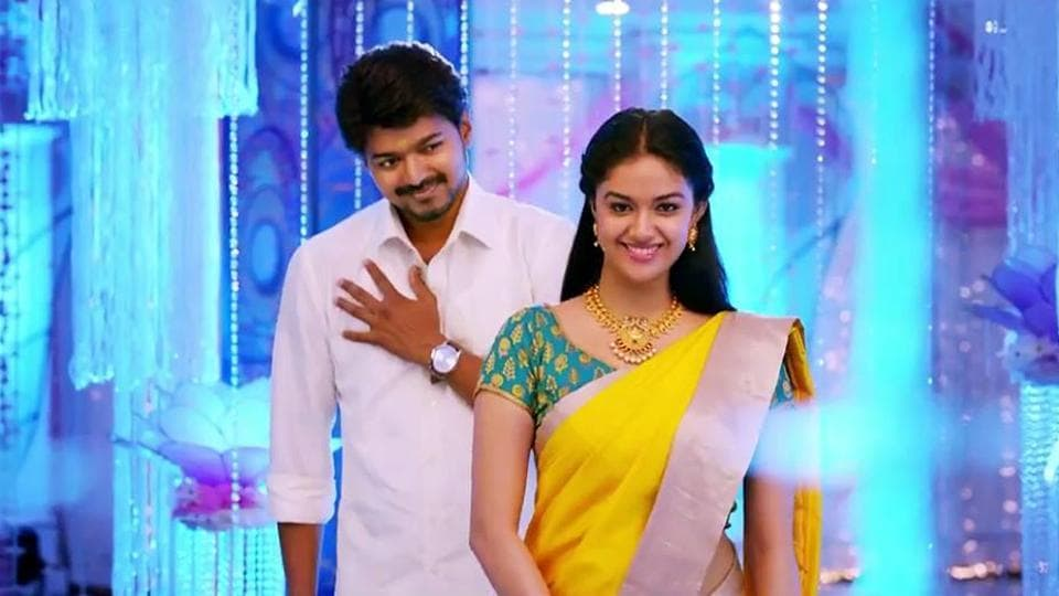 Keerthy Suresh and Vijay in a still from their earlier film, Bairavaa.