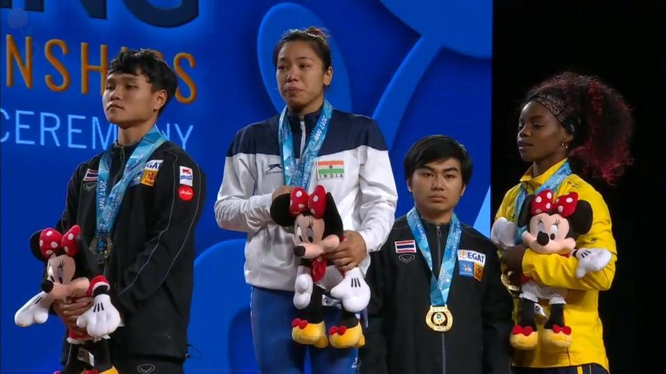 Mirabai Chanu won the gold medal in women's 48 kg category at the World Weightlifting Championships