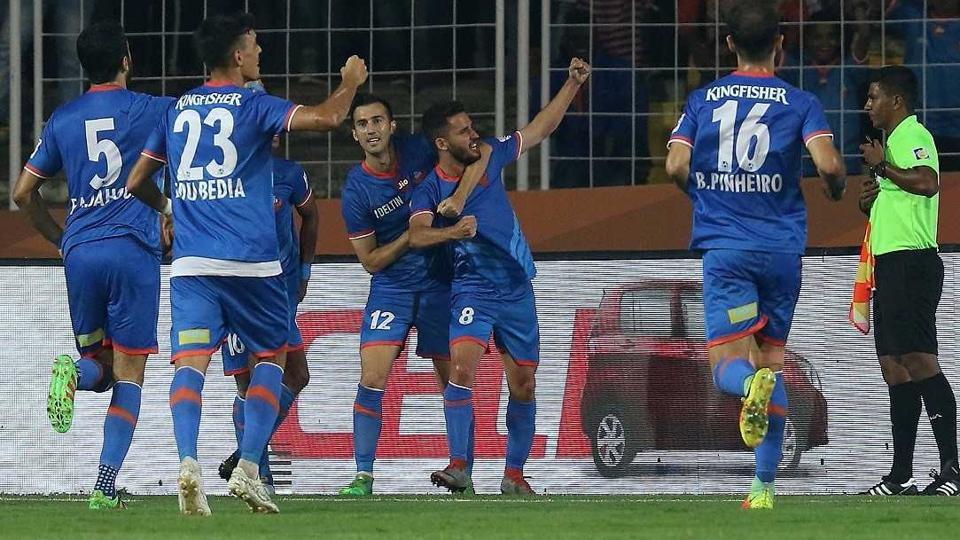 Ferran Corominas scores after scoring his hattrick for FCGoa during their ISL2017-18 match against Bengaluru FC. (ISL)