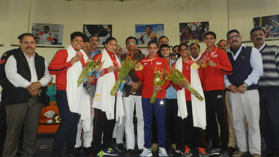 Haryana agriculture minister OP Dhankar welcoming boxers at the sports authority of India (SAI) boxing academy at Rohtak's Rajiv Gandhi Sports Stadium.