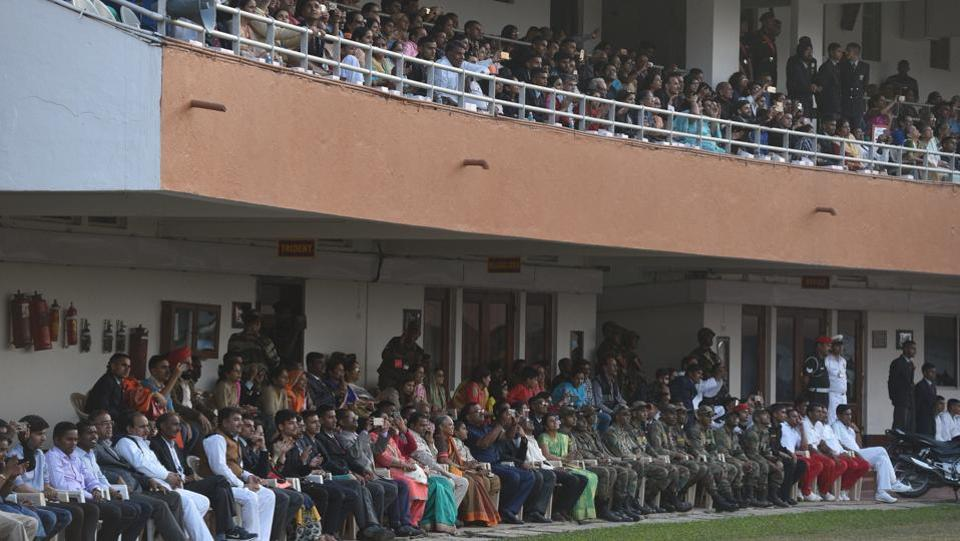 Spectators during the PT & Equestrian Display of the 133rd NDA course at The National Defence Academy (NDA) in Pune on Wednesday. (Pratham Gokhale/HT Photo)