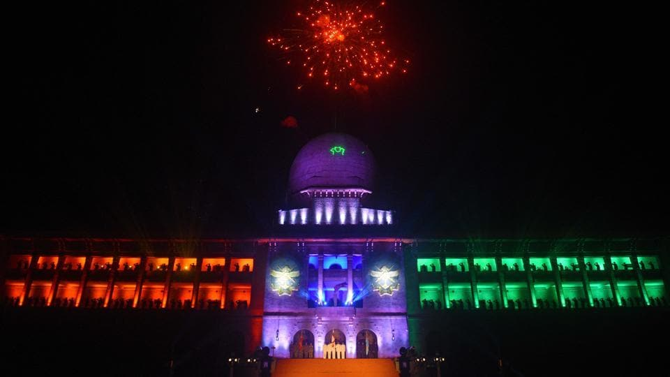 Sudan Block lit in tricolours during the Light and Sound Show of 133rd NDA course at The National Defence Academy (NDA) in Pune on Wednesday. (Pratham Gokhale/HT Photo)