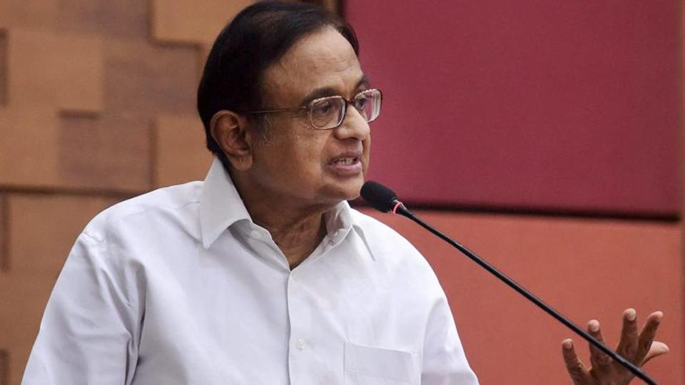 Senior Congress leader P Chidambaram interacts with the media in Ahmedabad earlier this month.