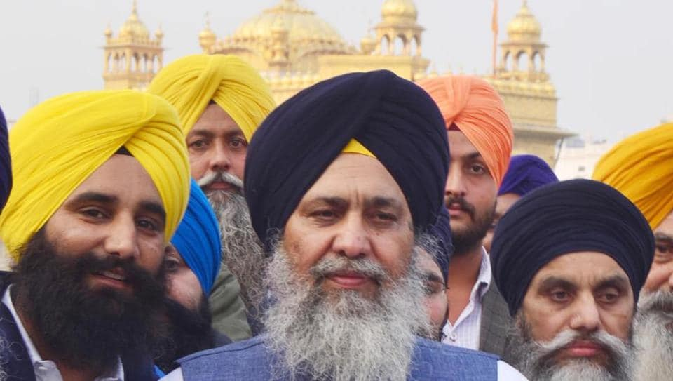 SGPC president Gobind Singh Longowal after his election in Amritsar.