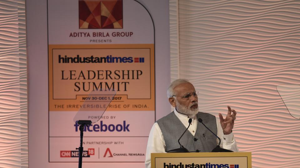Prime Minister Narendra Modi delivers the inaugural address at the 15th edition of the Hindustan Times Leadership Summit on Thursday.