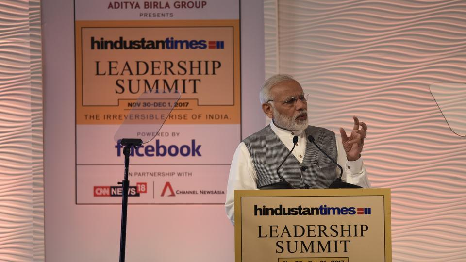 PM Narendra Modi delivers the inaugural address at the Hindustan Times Leadership Summit at Hyatt Regency in New Delhi.