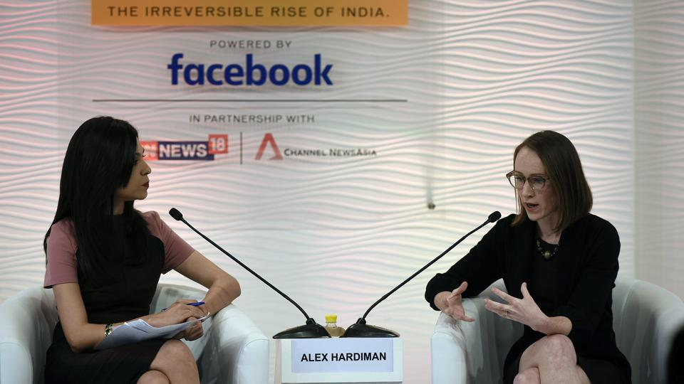 "Facebook is increasing investment and has identified ways to combat the problem of fake news, Alexandra Hardiman (R), Director of News Products, said in conversation with Shereen Bhan, Managing Editor, CNBC - TV 18 during the HTLS 2017 in New Delhi, while also announcing that social media platform will not treat news as a revenue engine. ""We want to make sure that everyone who comes to Facebook will know that they get high-quality, credible news,"" Hardiman said. (Burhaan Kinu / HT Photo)"