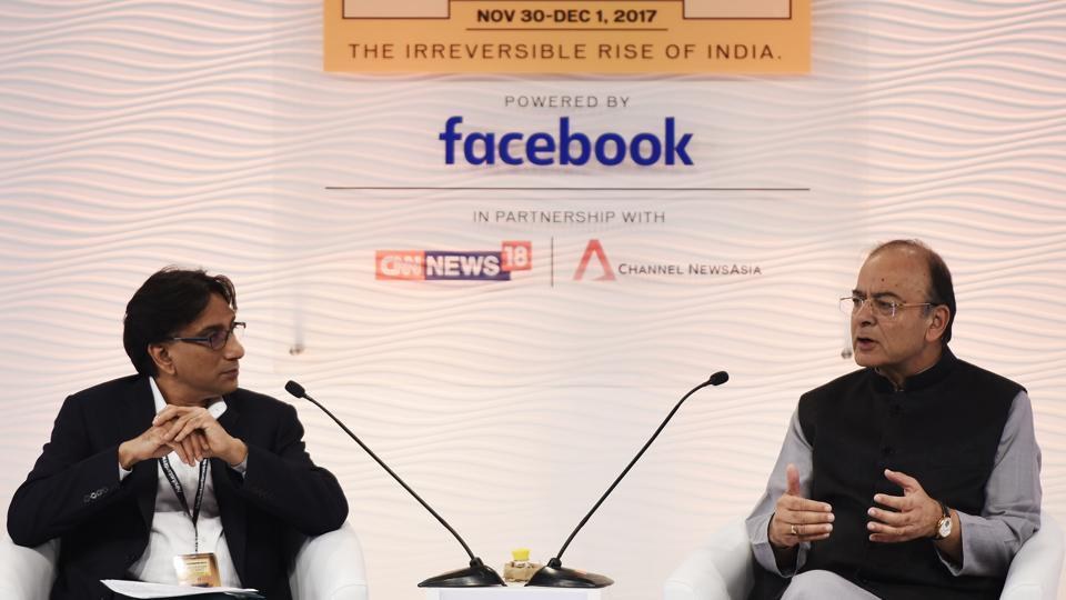 Arun Jaitley (R), Union Minister of Finance and Corporate Affairs in conversation with Jahangir Aziz, Chief Emerging Market Economist, J. P. Morgan during the Hindustan Times Leadership Summit 2017. He hinted that tax rates under the goods and services tax (GST) could be rationalised to three slabs as revenues under the new tax regime stabilise. (Burhaan Kinu / HT Photo)