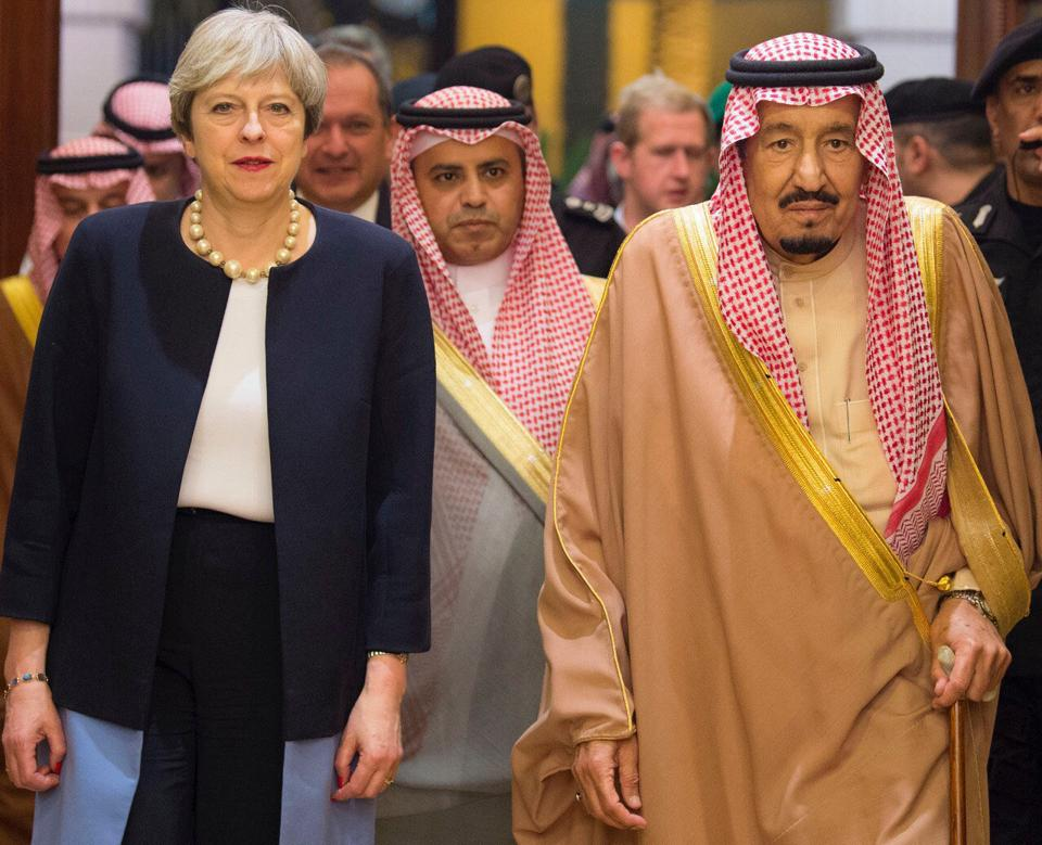 British Prime Minister Theresa May,King Salman,Crown Prince Mohammed bin Salman
