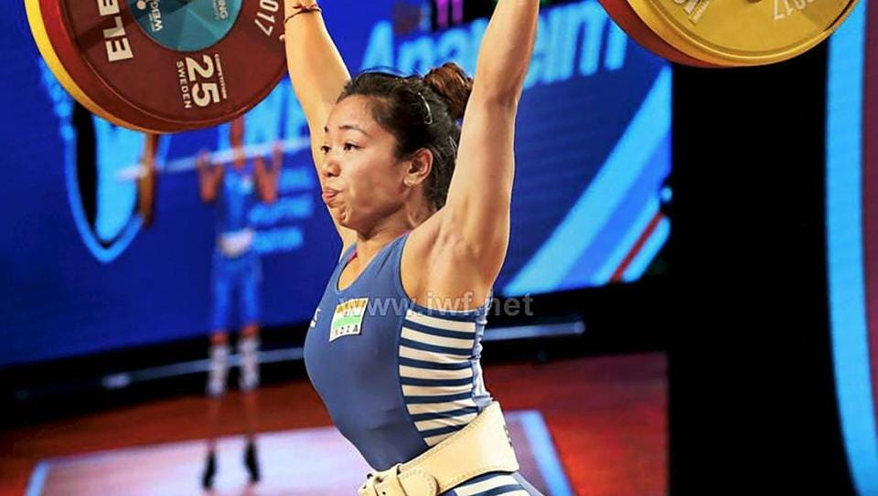 Indian weightlifter Mirabai Chanu attempts a lift on her way to gold in women's 48 kg at the World Weightlifting Championships in Anaheim.