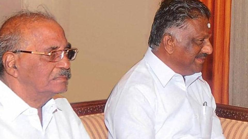 AIADMK's Madhusudhanan (left) and Tamil Nadu deputy chief Minister O Panneerselvam.