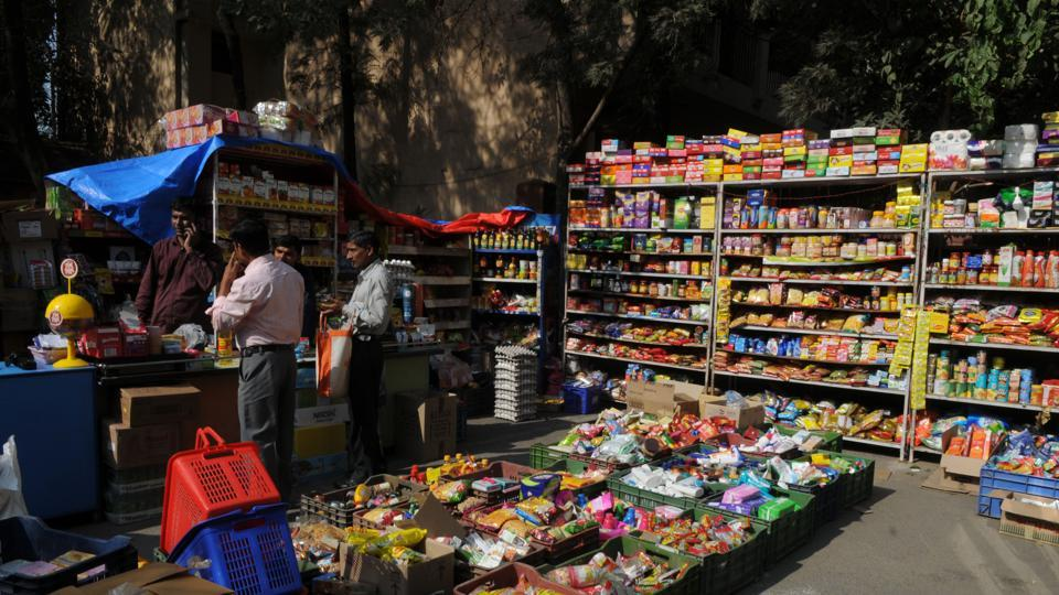 Vendors who managed shops inside the Heritage City spread their wares on the road inside the housing society after their shops were demolished by the DTP and enforcement department.