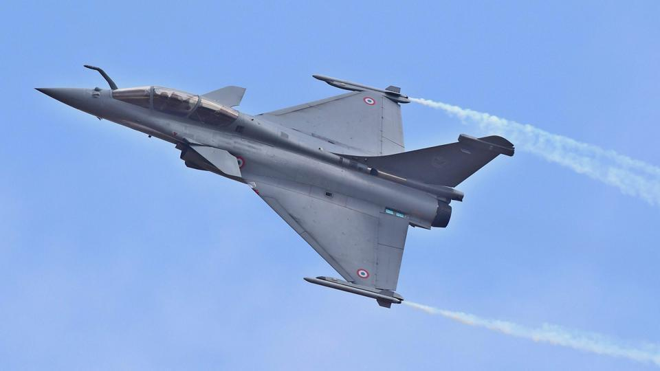 A Rafale fighter aircraft flying during the inauguration of the 11th biennial edition of AERO INDIA 2017 at Yelahanka Air base in Bengaluru.