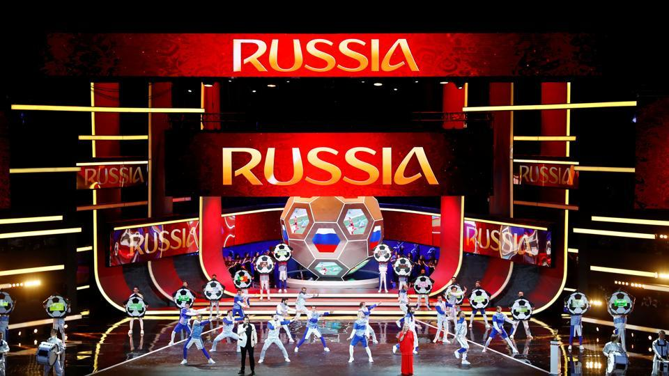 The name of Russia is displayed on the big screen during the 2018 FIFA World Cup draw. (REUTERS)