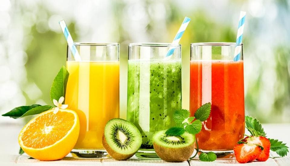 Fruit juice has most of its fibre removed when being manufactured, which makes it easy to drink large quantities in one sitting.