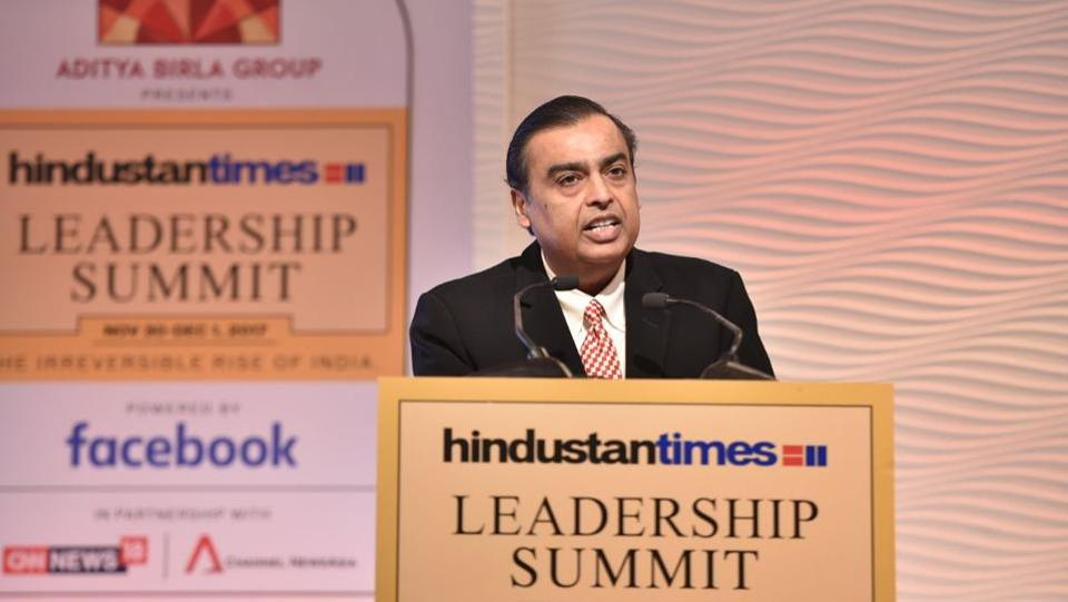 """Today I wish to make a prediction. India's rise will be higher than China's rise by the middle of the 21st century,"" Mukesh Ambani, Chairman and Managing Director, Reliance Industries Limited claimed, saying India will offer a superior model to the world based on equitable resources, good governance. (Sanchit Khanna / HT Photo)"