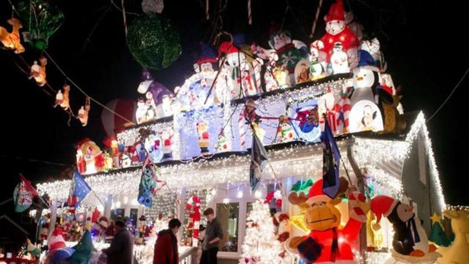 Brightly lit houses are a common sight across America during Christmas.