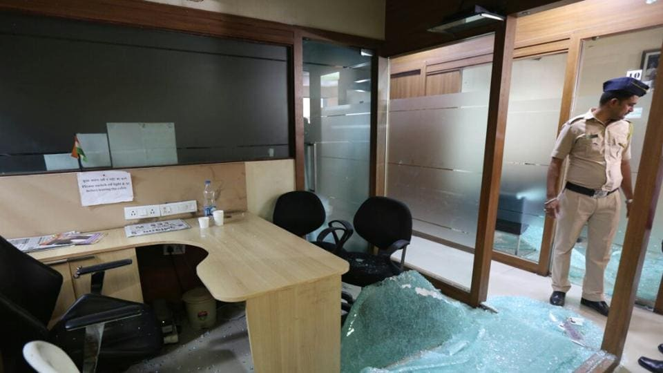 Around 10.15am, eight to 10 MNS workers barged in and smashed glass cabins as well as the glass in the reception area of the Congress office near CSMTwith stones and sticks.