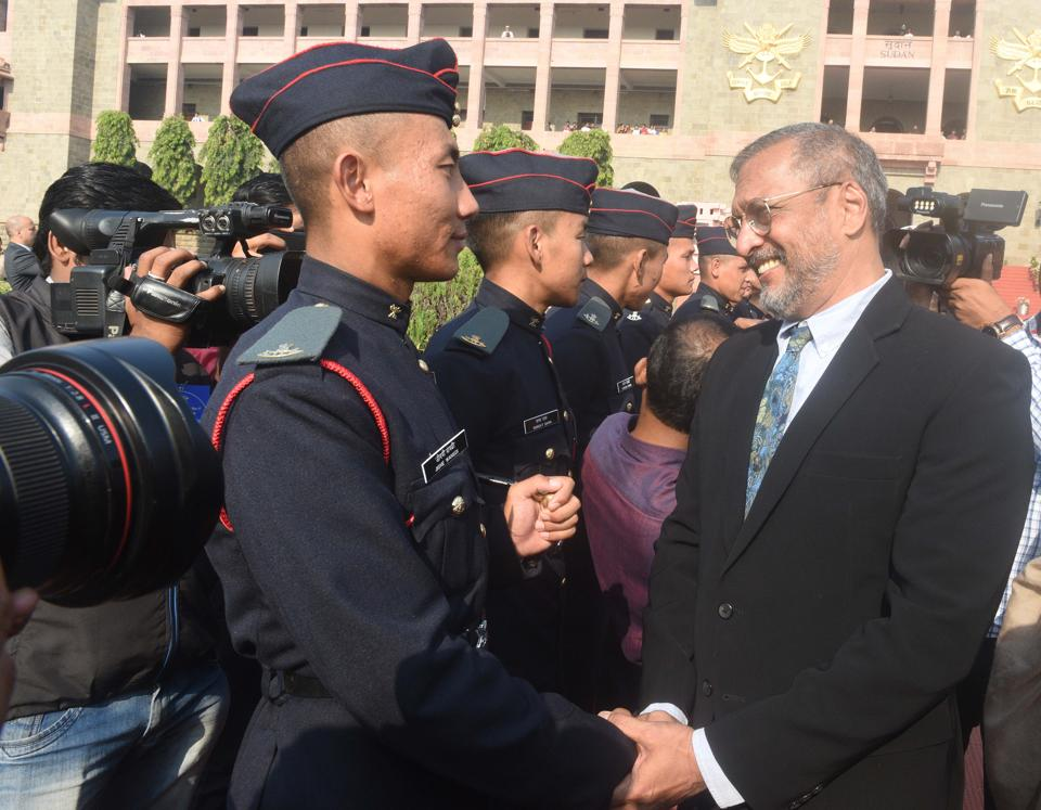 Bollywood actor Nana Patekar interacts with cadets after the Passing Out Parade of the 133rd course of the National Defence Academy (NDA) in Pune on Thursday. (Pratham Gokhale/HT Photo)