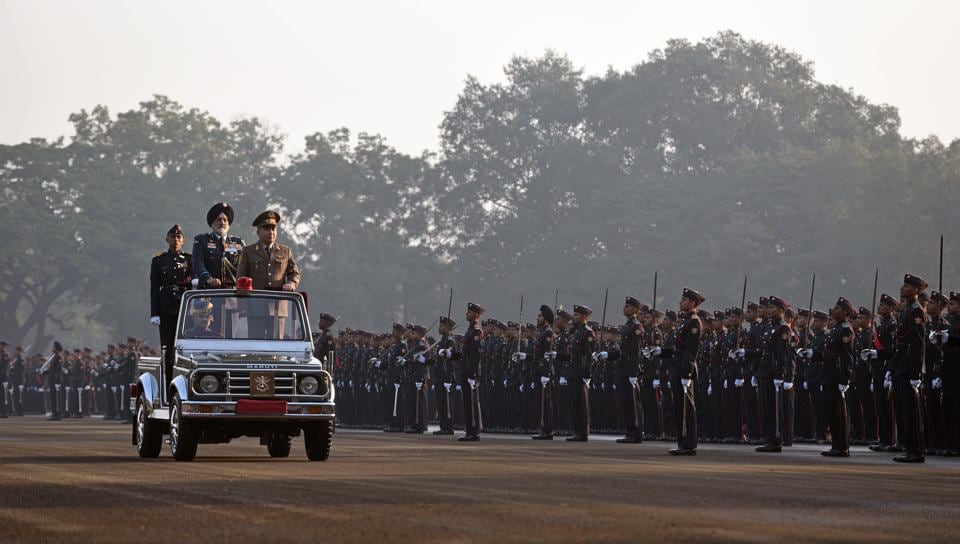 Major General Raiimberdi Duishenbiev, Chief of General Staff, Armed Forces of the Kyrgyz Republic and Air Marshal JS Kler, AVSM, VM, Commandant, National Defence Academy reviewing the Passing Out Parade of the 133rd course of the National Defence Academy (NDA) in Pune on Thursday. (Pratham Gokhale/HT Photo)
