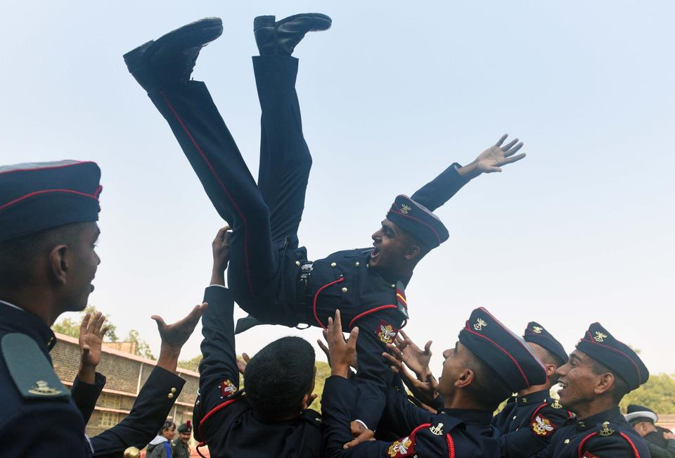 Cadets celebrate after the Passing Out Parade of the 133rd course of the National Defence Academy (NDA) in Pune on Thursday. (Pratham Gokhale/HT Photo)