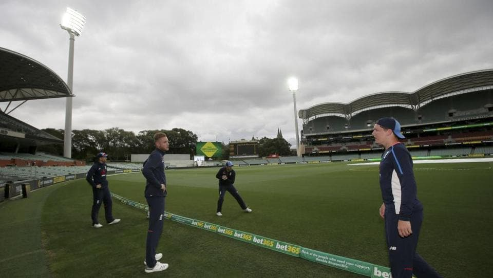England players field at the boundary as the team trains under lights for the 2nd Ashes Test vs Australia in Adelaide.