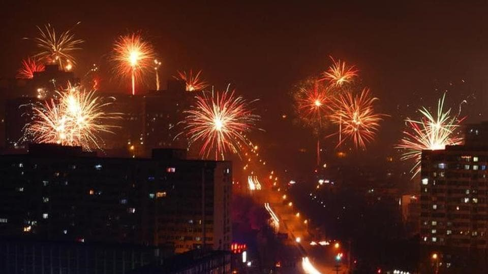 Citizens celebrate China's Lunar New Year with fireworks on early morning of January 28 in Beijing.