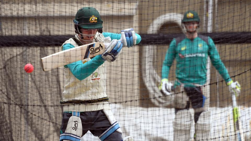Peter Handscomb had a lengthy batting session as Australia's middle order aimed to take the pressure off Steve Smith.  (AFP)