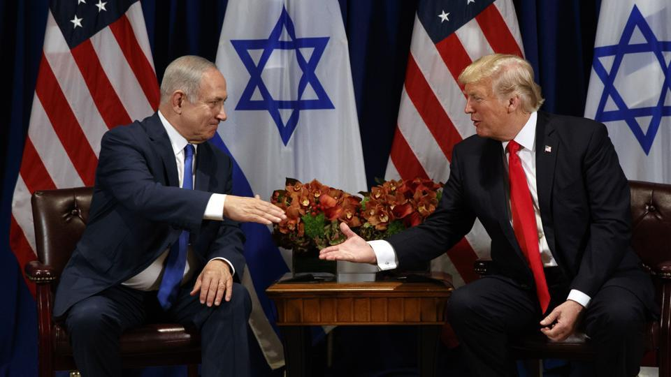 President Donald Trump meeting with Israeli Prime Minister Benjamin Netanyahu at the Palace Hotel during the United Nations General Assembly, Monday, Sept. 18, 2017, in New York.