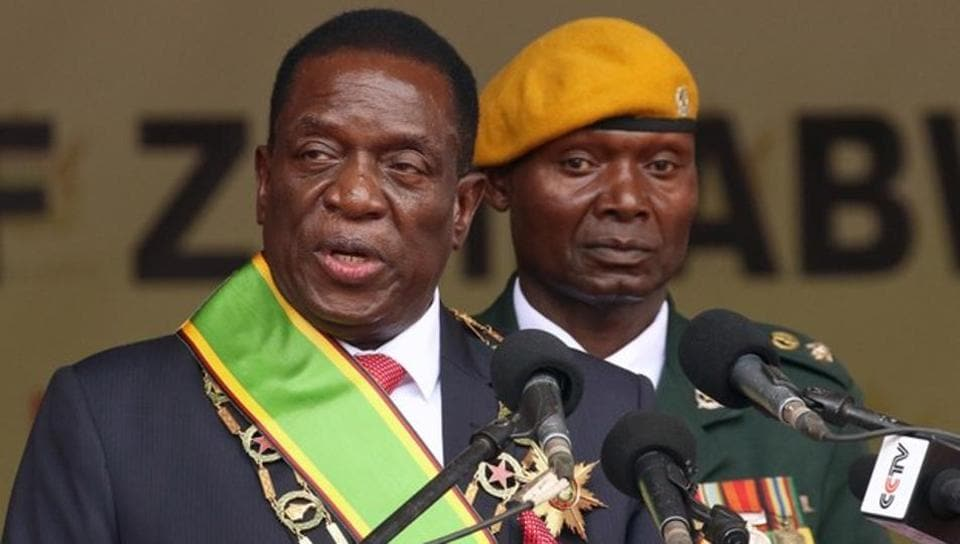 Emmerson Mnangagwa speaks after being sworn in as Zimbabwe's president in Harare, Zimbabwe, November 24, 2017.